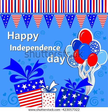Happy Independence Day! Celebration blue background with gift boxes, balloon and place for your text.  illustration