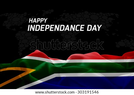 Happy Independence Day South Africa flag and World Map background - stock photo