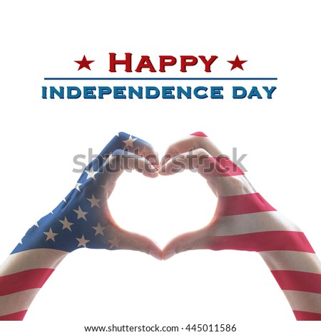 Happy independence day 4th of July text message: National America flag pattern on people hands in heart shaped isolated on white background: United states of america USA labor, US holiday day concept - stock photo