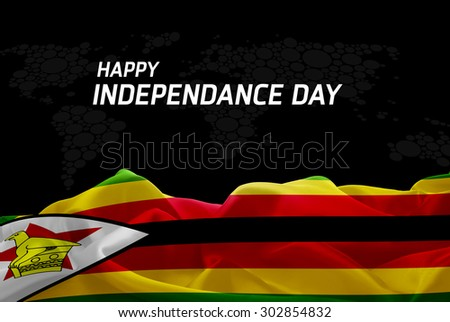 Happy Independence Day Zimbabwe flag and World Map background - stock photo