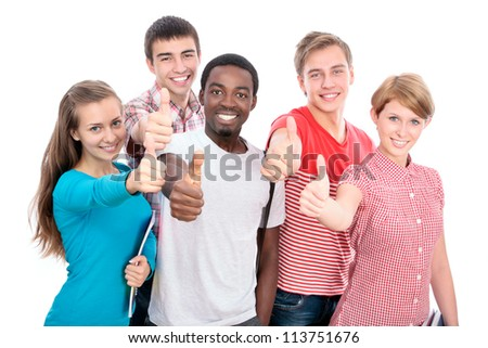 Happy international group of student shows thumb up - stock photo