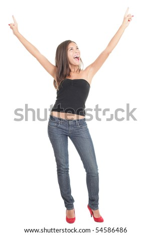 Happy joyful asian woman screaming excited of joy isolated on white background. Young model standing in full body.
