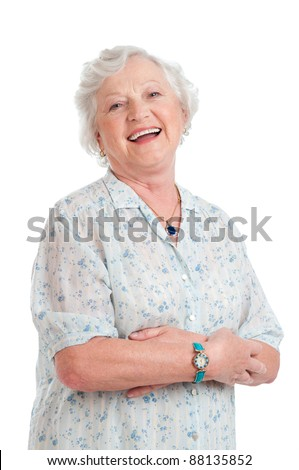 Happy joyful senior lady looking at camera and smiling isolated on white background - stock photo