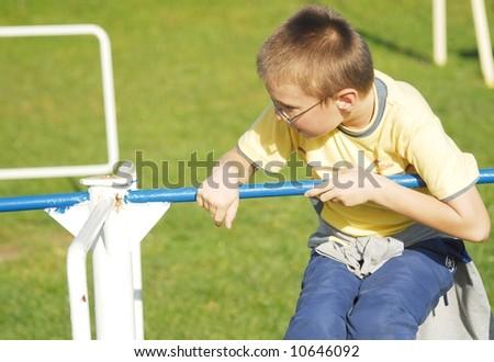 Happy jumping boy - stock photo
