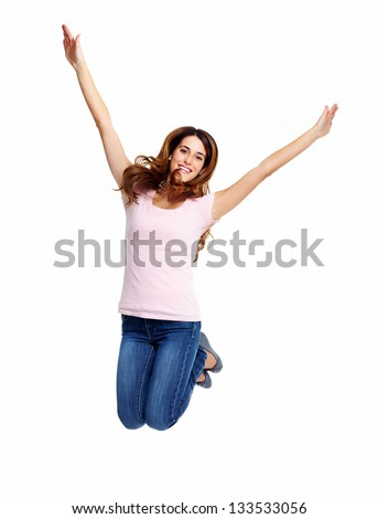 Happy jumping girl. Isolated on white background. - stock photo