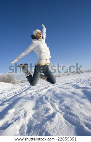 happy jumping girl outdoors