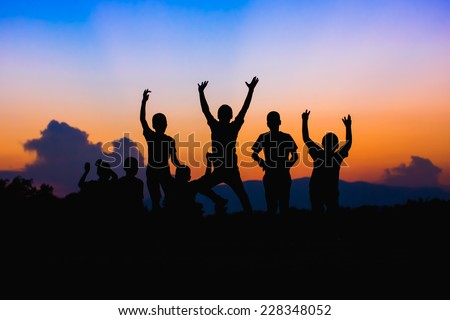Happy jumping kids, friends activities - stock photo