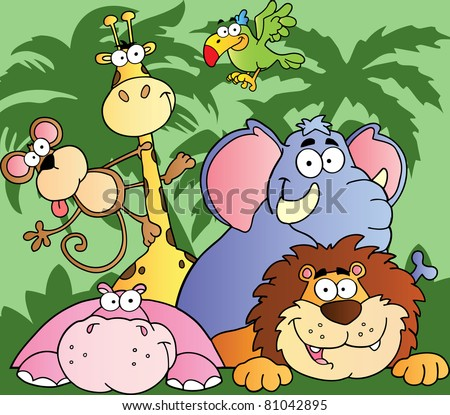 Happy Jungle Animals Raster Illustration.Vector version is also available - stock photo