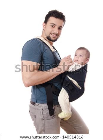Happy kangaroo-dad and little baby isolated. - stock photo
