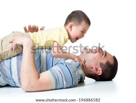 happy kid boy and dad and  play isolated on white - stock photo
