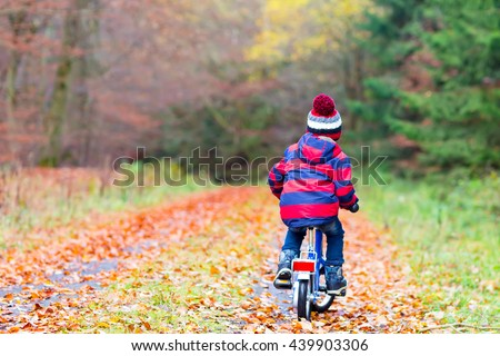 Happy kid boy of 3 years having fun in autumn forest with a bicycle on beautiful fall day. Active child making sports. Safety, sports, leisure with kids concept. - stock photo