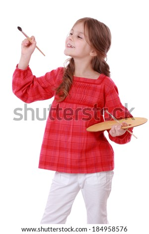 Happy kid on Art theme/Cute little girl painting a picture, isolated on white - stock photo