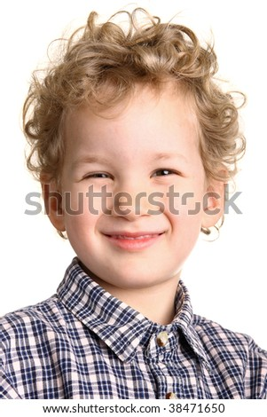 Happy kid smiling. Positive concept. Studio shot. Isolated on white background. - stock photo