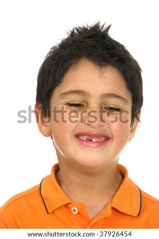 Happy kid with missing front teeth over white background