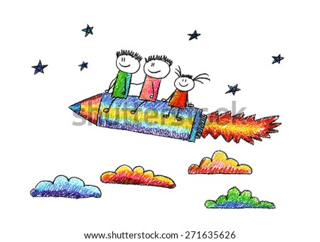 Happy kids fly on pencil shaped rocket. Colorful picture. Kids drawing - stock photo