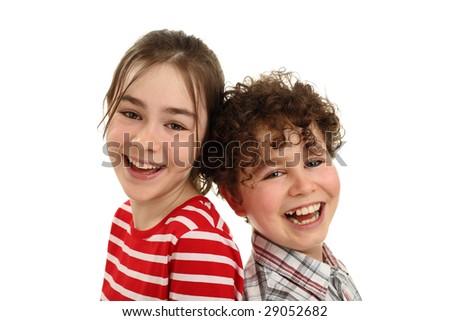 Happy kids isolated on white background - stock photo