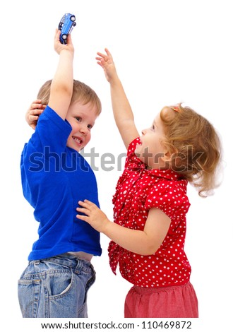 happy kids jump playing with toy car isolated - stock photo