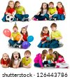 happy kids on a white background. collage - stock photo