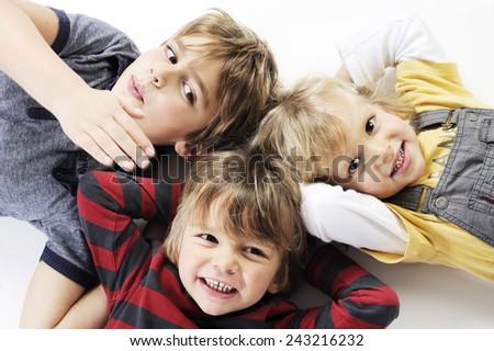happy kids on white - stock photo