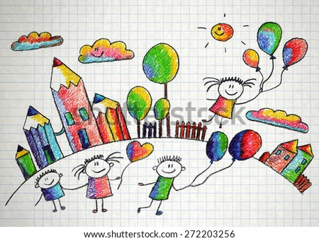 Happy kids play with ballons. Colorful summer picture. Kids drawing - stock photo