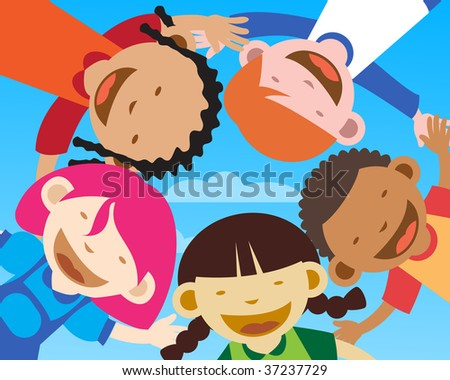 Happy kids smiling, facing toward camera - stock photo