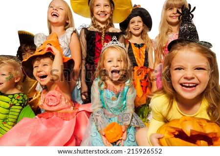 Happy kids wearing Halloween costumes close-up - stock photo