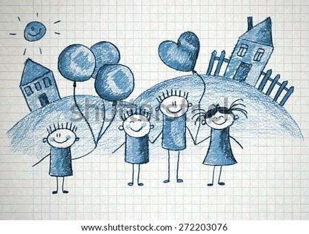 Happy kids with teacher. Picture with sun and clouds - stock photo