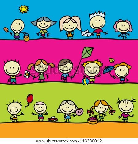 Happy kids with toys seamless border - stock photo