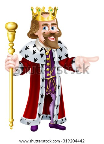 Happy King cartoon character wearing a crown, holding a sceptre and pointing - stock photo