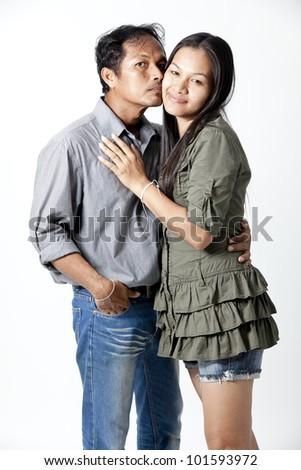 happy kissing couple - stock photo