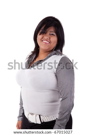 happy large  latin woman, isolated on  white studio shot - stock photo