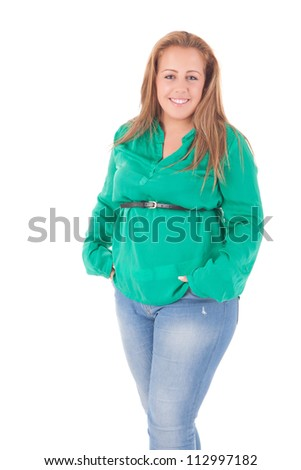 Happy large woman posing over a white background - stock photo