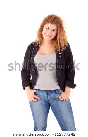 Happy large woman posing over a white background