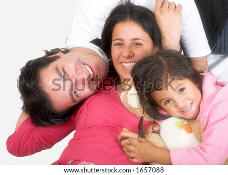 happy latin american family over a white background