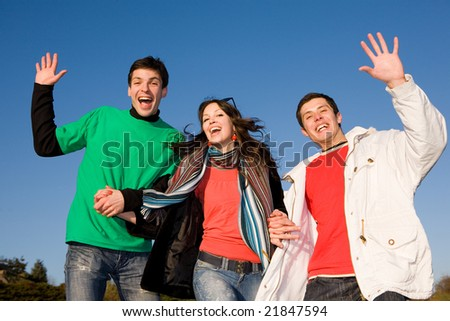 Happy laugh young team - stock photo