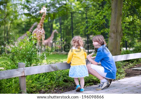 Happy laughing boy and his toddler sister cute little girl with curly hair wearing a dress having fun together in a zoo watching giraffes and other animals on a day trip during summer vacation - stock photo