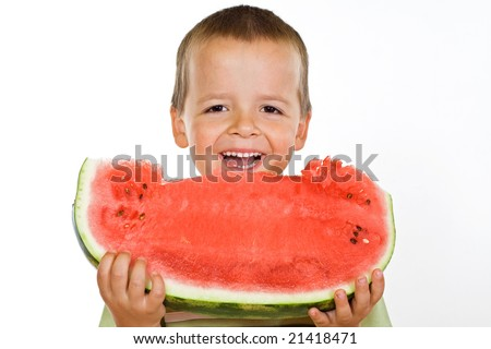 Happy laughing boy holding a large watermelon slice - isolated - stock photo