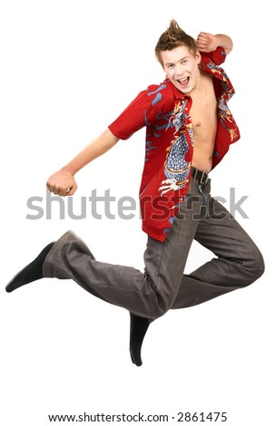 Happy laughing dude jumping. Isolated over white - stock photo