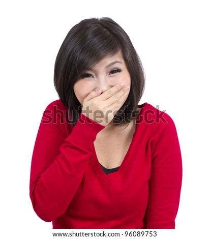 happy laughing pretty young girl - stock photo