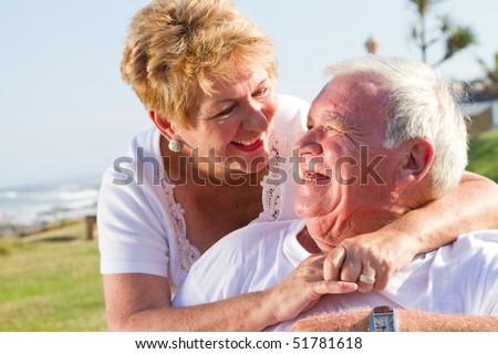 happy laughing senior couple - stock photo