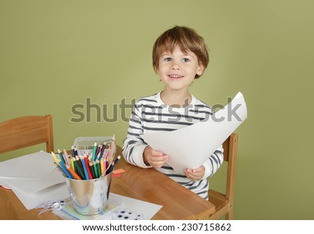 Happy, laughing, smiling, child at school, Learning and Education  - stock photo