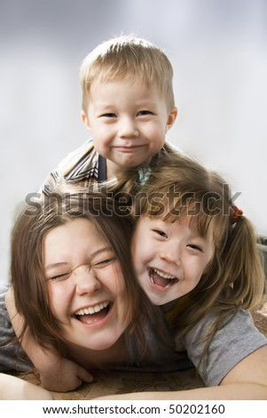 Happy Laughing three Children.