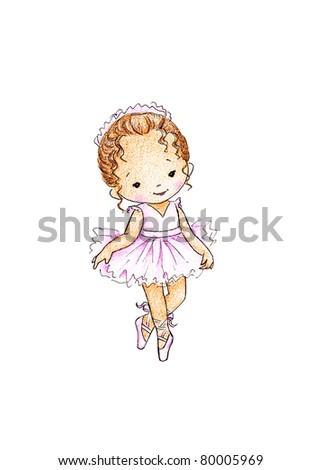 happy little ballerina in pink dress on white background - stock photo