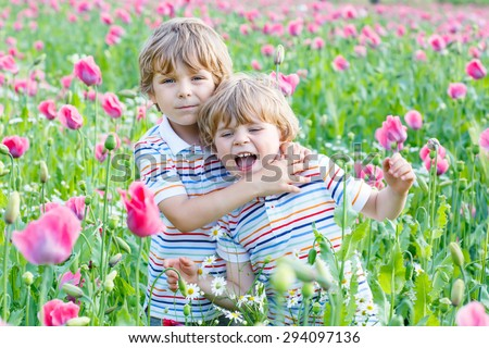 happy little blond siblings in blooming poppy field with pink flowers. Smiling boys. Active leisure with kids in summer, on sunny warm day, outdoors. - stock photo