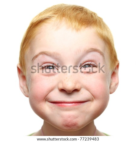 Happy little boy isolated - stock photo