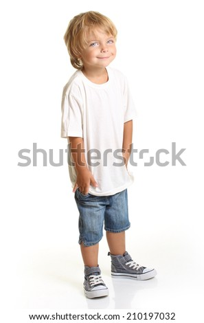 Happy little boy isolated on white background - stock photo