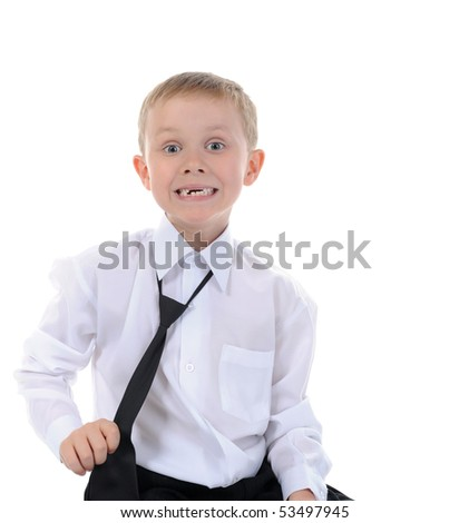 Happy little boy. Isolated on white background