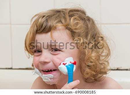 Happy Little Boy Pretending Shave Toy Stock Photo (Download Now ...