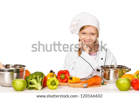 Happy little chef with lots of vegetables - healthy diet concept. Isolated - stock photo