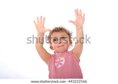 Happy little child portrait isolated on white background - stock photo